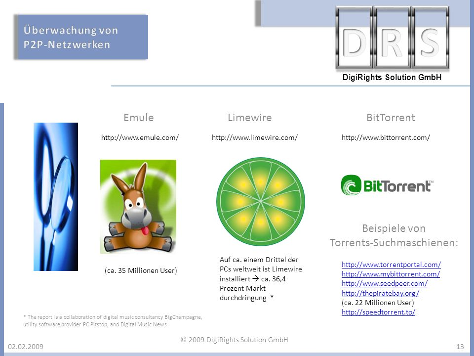 DigiRights Solution GmbH 02.02.200913 http://www.limewire.com/http://www.emule.com/http://www.bittorrent.com/ http://www.torrentportal.com/ http://www