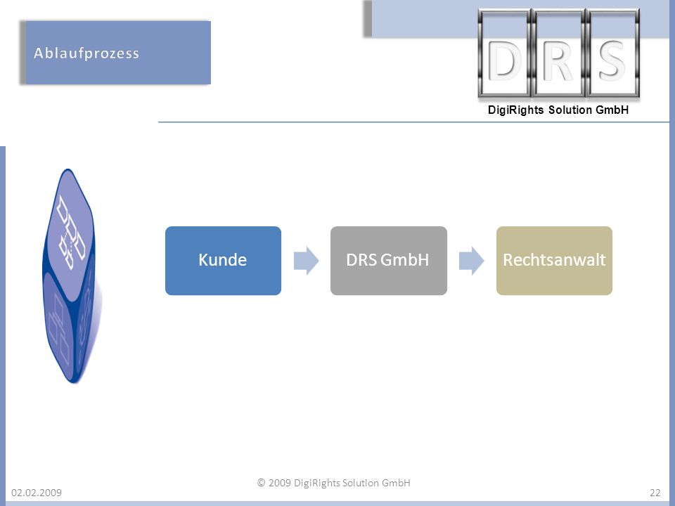 DigiRights Solution GmbH 02.02.200922 KundeDRS GmbHRechtsanwalt © 2009 DigiRights Solution GmbH