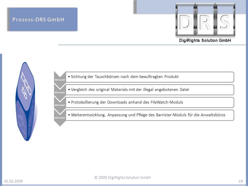 DigiRights Solution GmbH 02.02.200924 DRS GmbH Sichtung der Tauschbörsen nach dem beauftragten Produkt DRS GmbH Vergleich des original Materials mit d