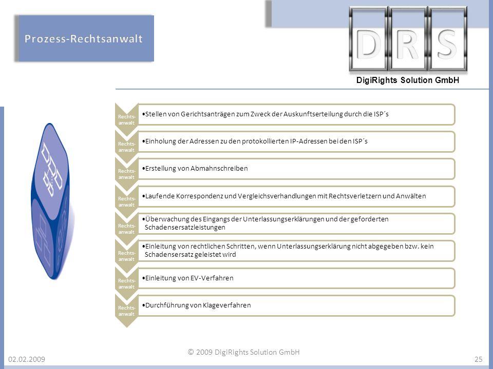 DigiRights Solution GmbH 02.02.200925 Rechts- anwalt Stellen von Gerichtsanträgen zum Zweck der Auskunftserteilung durch die ISP´s Rechts- anwalt Einh