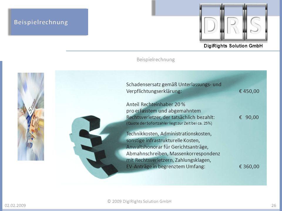 DigiRights Solution GmbH 02.02.200926 Schadensersatz gemäß Unterlassungs- und Verpflichtungserklärung: 450,00 Anteil Rechteinhaber 20 % pro erfasstem