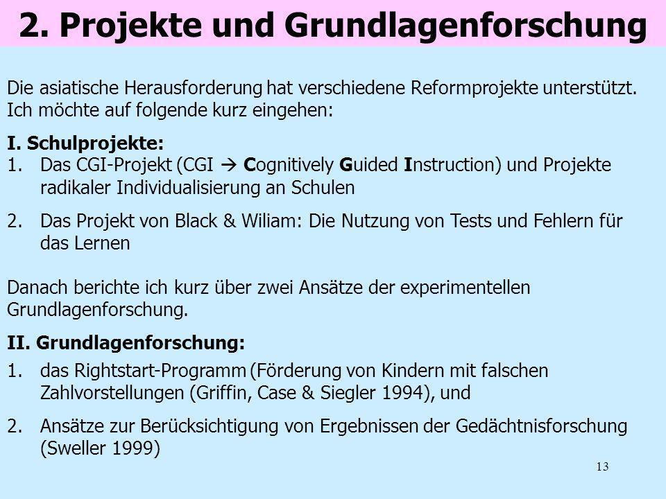 13 2. Projekte und Grundlagenforschung 1.Das CGI-Projekt (CGI Cognitively Guided Instruction) und Projekte radikaler Individualisierung an Schulen 2.D