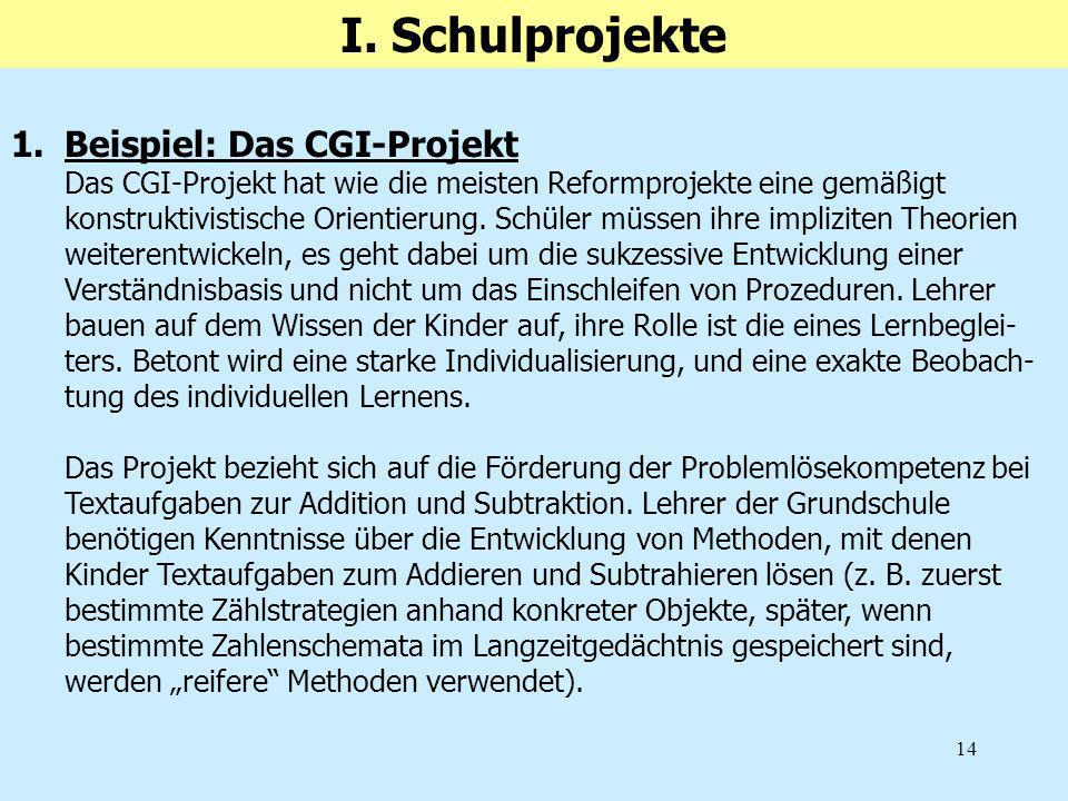 14 1.Beispiel: Das CGI-Projekt Das CGI-Projekt hat wie die meisten Reformprojekte eine gemäßigt konstruktivistische Orientierung. Schüler müssen ihre
