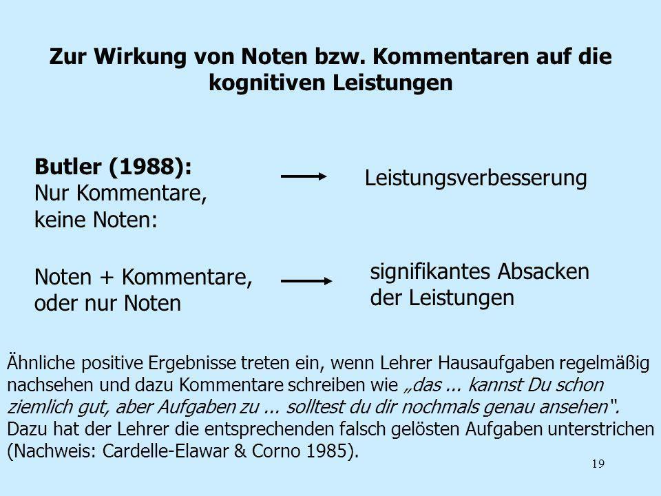 19 Zur Wirkung von Noten bzw. Kommentaren auf die kognitiven Leistungen Butler (1988): Nur Kommentare, keine Noten: Leistungsverbesserung Noten + Komm