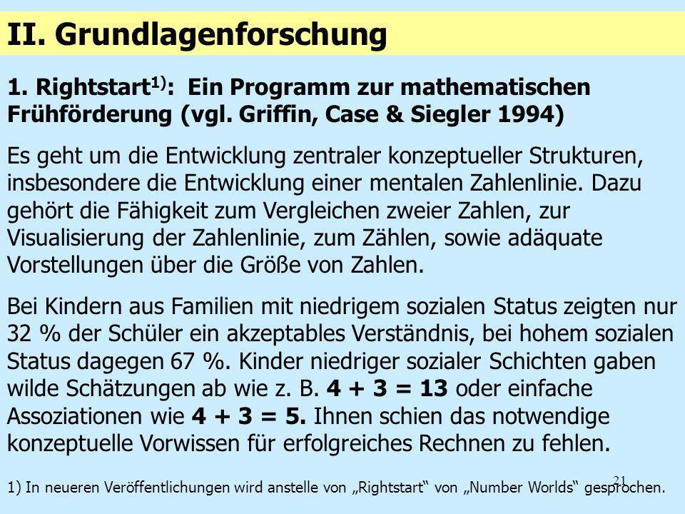 21 1. Rightstart 1) : Ein Programm zur mathematischen Frühförderung (vgl. Griffin, Case & Siegler 1994) Es geht um die Entwicklung zentraler konzeptue