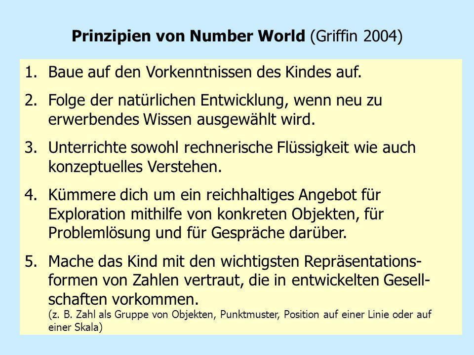 23 Prinzipien von Number World (Griffin 2004) 1.Baue auf den Vorkenntnissen des Kindes auf. 2.Folge der natürlichen Entwicklung, wenn neu zu erwerbend