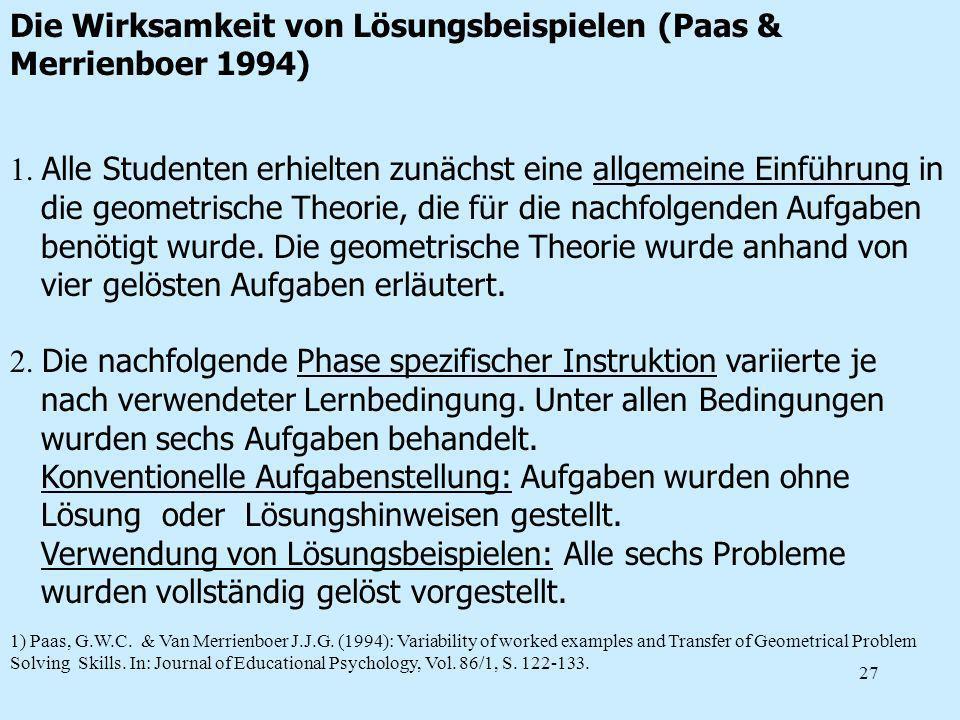 27 1. Alle Studenten erhielten zunächst eine allgemeine Einführung in die geometrische Theorie, die für die nachfolgenden Aufgaben benötigt wurde. Die