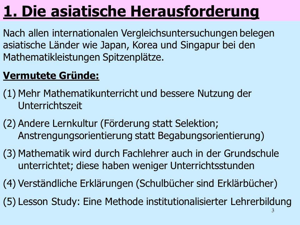3 1. Die asiatische Herausforderung Vermutete Gründe: (1)Mehr Mathematikunterricht und bessere Nutzung der Unterrichtszeit (2)Andere Lernkultur (Förde