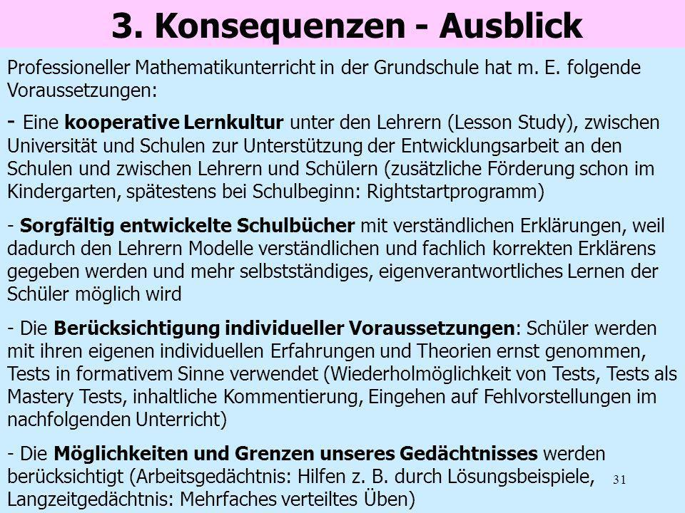 31 3. Konsequenzen - Ausblick - Eine kooperative Lernkultur unter den Lehrern (Lesson Study), zwischen Universität und Schulen zur Unterstützung der E