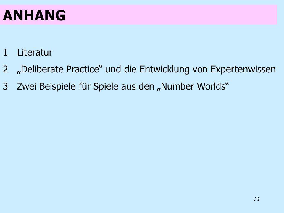 32 ANHANG 1Literatur 2Deliberate Practice und die Entwicklung von Expertenwissen 3Zwei Beispiele für Spiele aus den Number Worlds