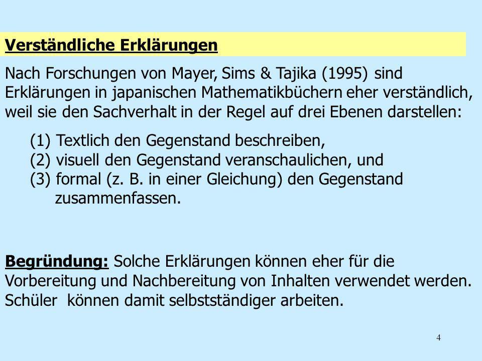 4 Verständliche Erklärungen Nach Forschungen von Mayer, Sims & Tajika (1995) sind Erklärungen in japanischen Mathematikbüchern eher verständlich, weil