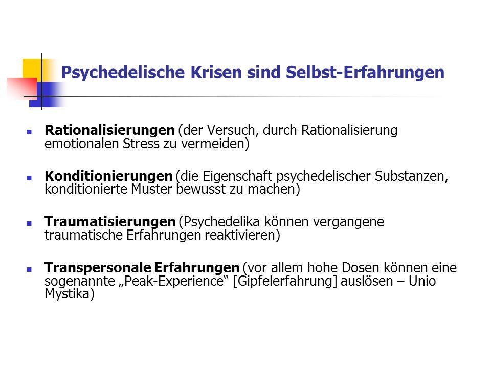 Hallucinogen persisting perception disorder (HPPD) selten auftretende, aber fortbestehende Wahrnehmungsstörung nach Halluzinogengebrauch Hängenbleiben angenommene Gründe/Ursachen: - Biographie - Persönlichkeitsstruktur - Aktuelle Lebenssituation - Set und Setting - Nicht-Integration der psychedelischen Erfahrung in den eigenen Lebenszusammenhang