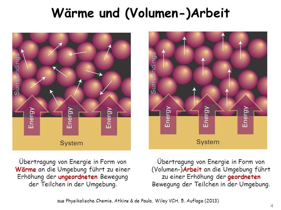 4 Wärme und (Volumen-)Arbeit Übertragung von Energie in Form von Wärme an die Umgebung führt zu einer Erhöhung der ungeordneten Bewegung der Teilchen