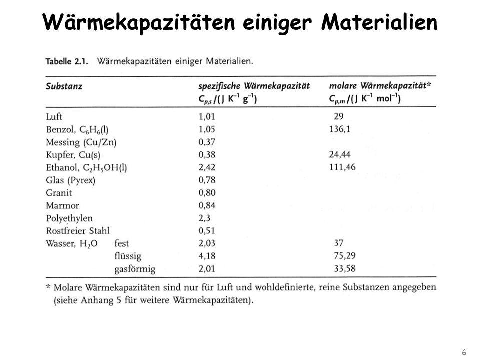 6 Wärmekapazitäten einiger Materialien