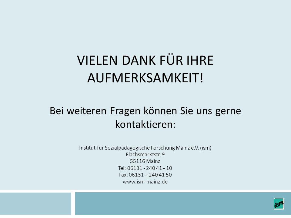 VIELEN DANK FÜR IHRE AUFMERKSAMKEIT! Bei weiteren Fragen können Sie uns gerne kontaktieren: Institut für Sozialpädagogische Forschung Mainz e.V. (ism)
