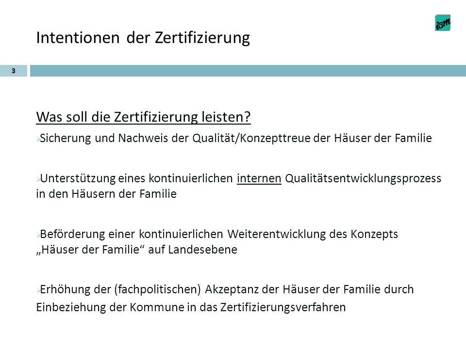 Intentionen der Zertifizierung Was soll die Zertifizierung leisten? Sicherung und Nachweis der Qualität/Konzepttreue der Häuser der Familie Unterstütz