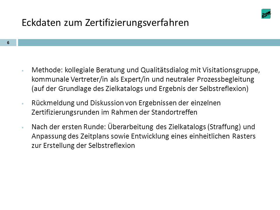Eckdaten zum Zertifizierungsverfahren Methode: kollegiale Beratung und Qualitätsdialog mit Visitationsgruppe, kommunale Vertreter/in als Expert/in und