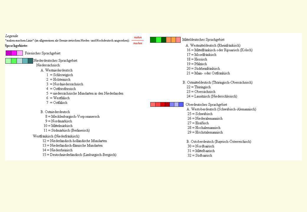 4 Untergliederung 4 Das Bairische kann anhand sprachlicher Merkmale in drei Großräume eingeteilt werden: 4 Nordbairisch 4 Mittelbairisch (OÖ, NÖ, Wien, Tiroler Unterland, Salzburg ohne Flachgau, Obersteiermark und nördliches Burgenland) 4 Südbairisch 4 Zwischen diesen befinden sich jeweils Übergangsräume, die als Nordmittelbairisch und Südmittelbairisch benannt sind.