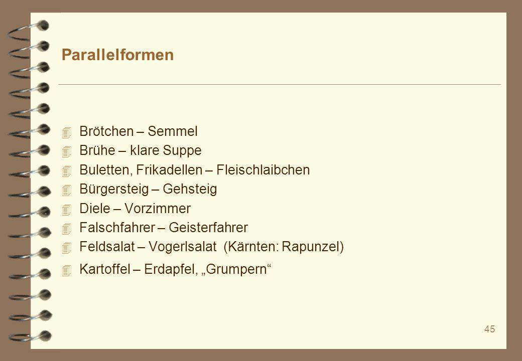45 Parallelformen 4 Brötchen – Semmel 4 Brühe – klare Suppe 4 Buletten, Frikadellen – Fleischlaibchen 4 Bürgersteig – Gehsteig 4 Diele – Vorzimmer 4 F