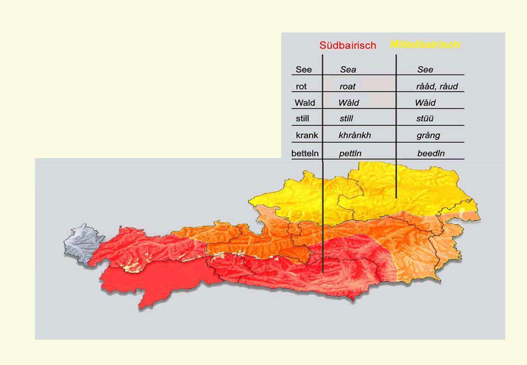 6 Hochsprache 4 gesprochene deutsche Standardsprache in Österreich stark von bairischen Dialekten beeinflusst 4 spezieller Wortschatz zum Teil in mittel- und südbairischen Dialekten verankert 4 außerdem Beeinflussung durch Nachbarsprachen, besonders Tschechisch, Ungarisch, Slowenisch, Slowakisch und Italienisch