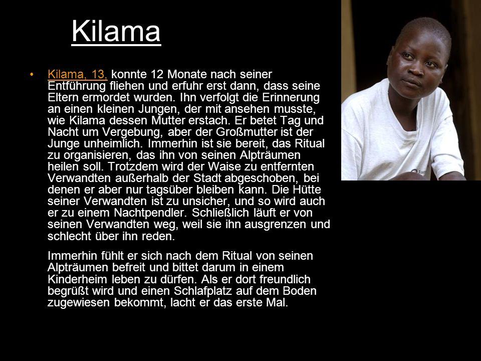 Kilama Kilama, 13, konnte 12 Monate nach seiner Entführung fliehen und erfuhr erst dann, dass seine Eltern ermordet wurden.