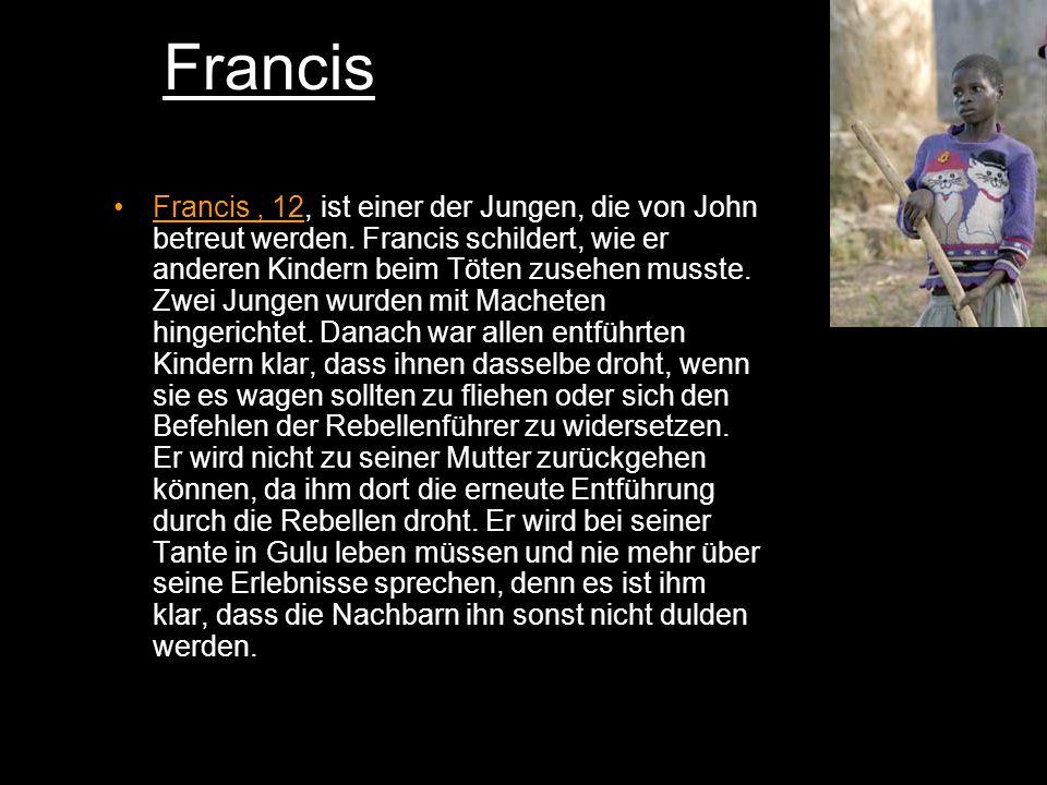 Francis Francis, 12, ist einer der Jungen, die von John betreut werden.