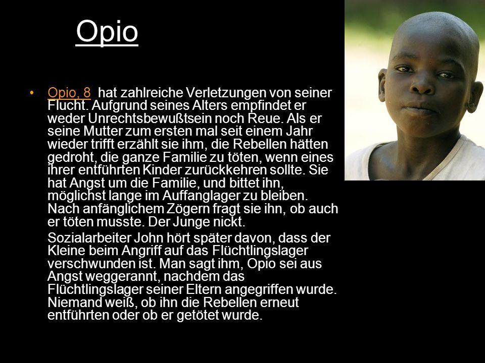 Opio Opio, 8, hat zahlreiche Verletzungen von seiner Flucht.