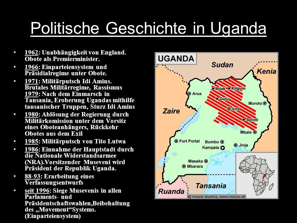 Politische Geschichte in Uganda 1962: Unabhängigkeit von England.