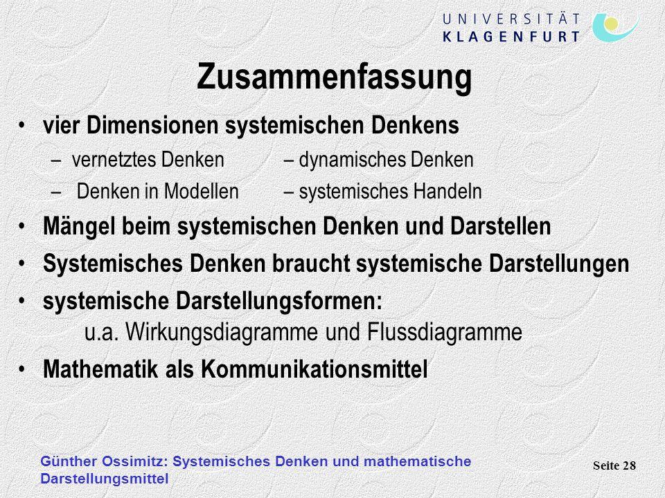 Günther Ossimitz: Systemisches Denken und mathematische Darstellungsmittel Seite 28 Zusammenfassung vier Dimensionen systemischen Denkens –vernetztes