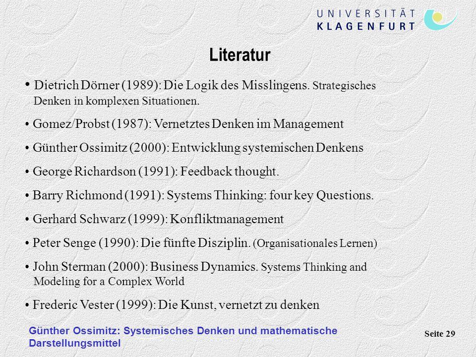 Günther Ossimitz: Systemisches Denken und mathematische Darstellungsmittel Seite 29 Literatur Dietrich Dörner (1989): Die Logik des Misslingens. Strat