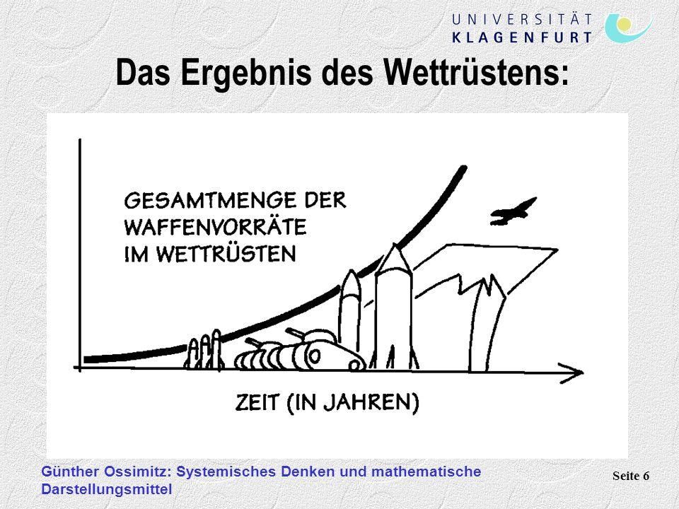 Günther Ossimitz: Systemisches Denken und mathematische Darstellungsmittel Seite 6 Das Ergebnis des Wettrüstens:
