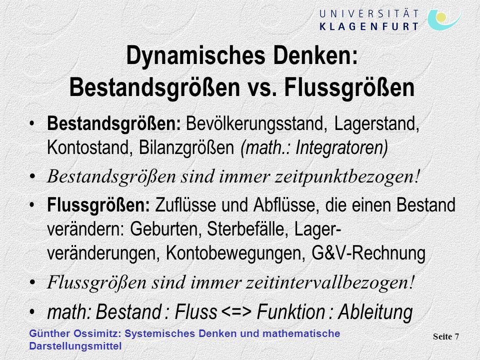 Günther Ossimitz: Systemisches Denken und mathematische Darstellungsmittel Seite 7 Dynamisches Denken: Bestandsgrößen vs. Flussgrößen Bestandsgrößen: