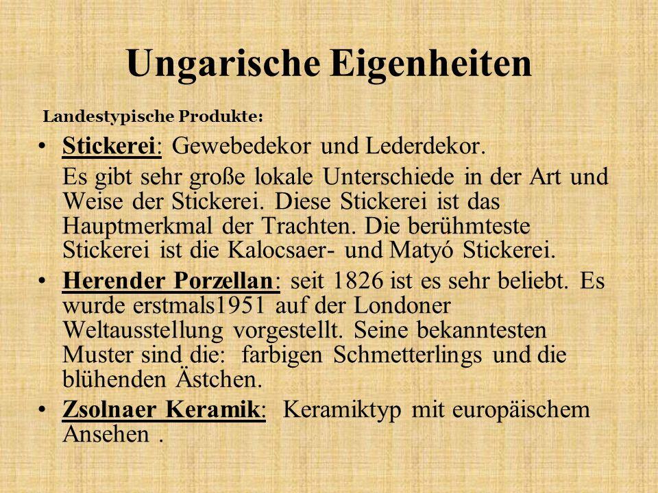 Ungarische Eigenheiten Stickerei: Gewebedekor und Lederdekor. Es gibt sehr große lokale Unterschiede in der Art und Weise der Stickerei. Diese Sticker