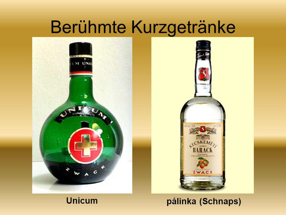 Berühmte Kurzgetränke Unicum pálinka (Schnaps)