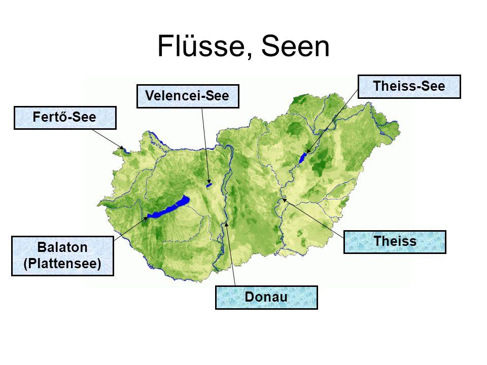 Flüsse, Seen Velencei-See Fertő-See Donau Theiss Theiss-See Balaton (Plattensee)