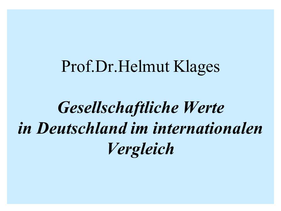 Prof.Dr.Helmut Klages Gesellschaftliche Werte in Deutschland im internationalen Vergleich
