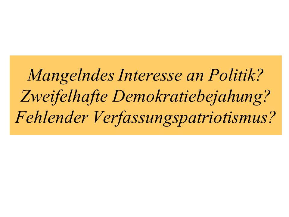 Mangelndes Interesse an Politik? Zweifelhafte Demokratiebejahung? Fehlender Verfassungspatriotismus?