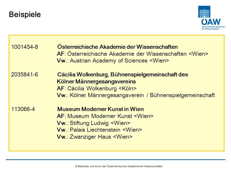 © Bibliothek und Archiv der Österreichischen Akademie der Wissenschaften Beispiele 1001454-8Österreichische Akademie der Wissenschaften AF: Österreich