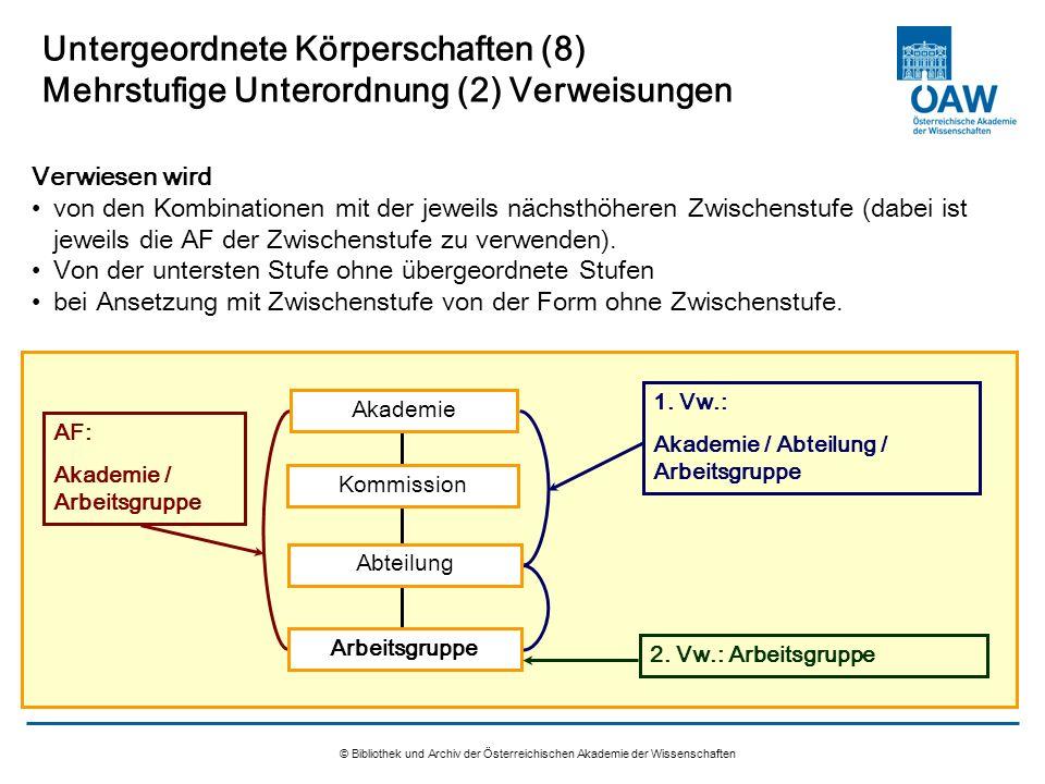 © Bibliothek und Archiv der Österreichischen Akademie der Wissenschaften Untergeordnete Körperschaften (8) Mehrstufige Unterordnung (2) Verweisungen V