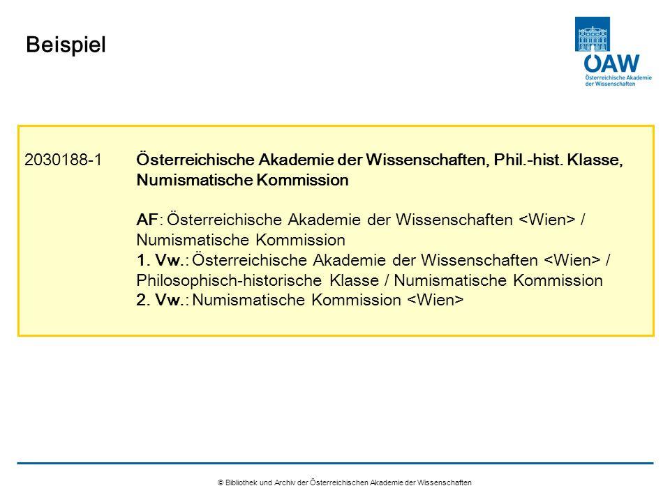 © Bibliothek und Archiv der Österreichischen Akademie der Wissenschaften Beispiel 2030188-1Österreichische Akademie der Wissenschaften, Phil.-hist. Kl