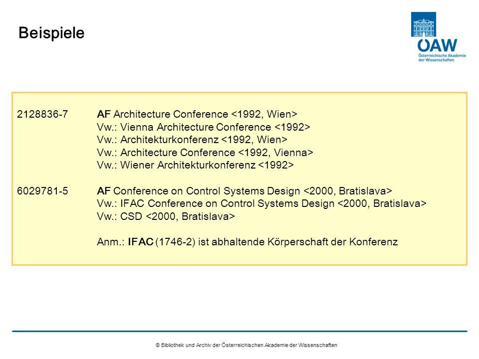 © Bibliothek und Archiv der Österreichischen Akademie der Wissenschaften Beispiele 2128836-7AF Architecture Conference Vw.: Vienna Architecture Confer