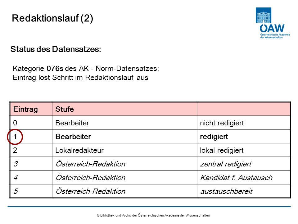 © Bibliothek und Archiv der Österreichischen Akademie der Wissenschaften Redaktionslauf (2) Status des Datensatzes: Kategorie 076s des AK - Norm-Daten