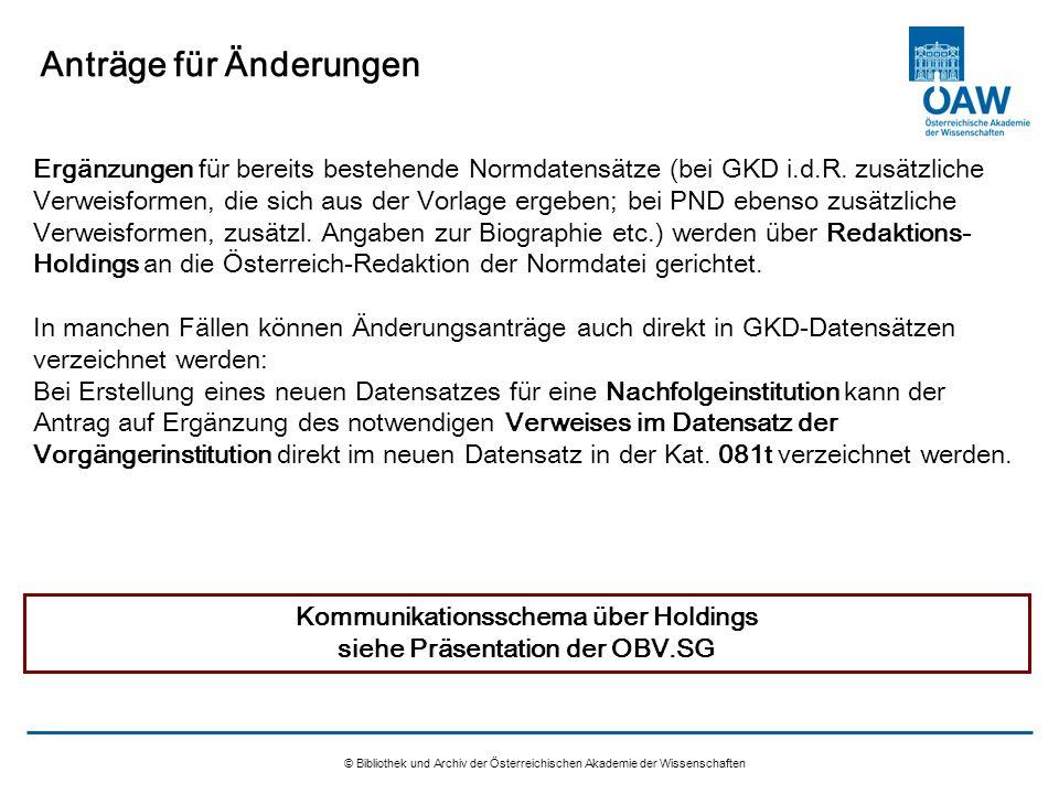© Bibliothek und Archiv der Österreichischen Akademie der Wissenschaften Anträge für Änderungen Ergänzungen für bereits bestehende Normdatensätze (bei