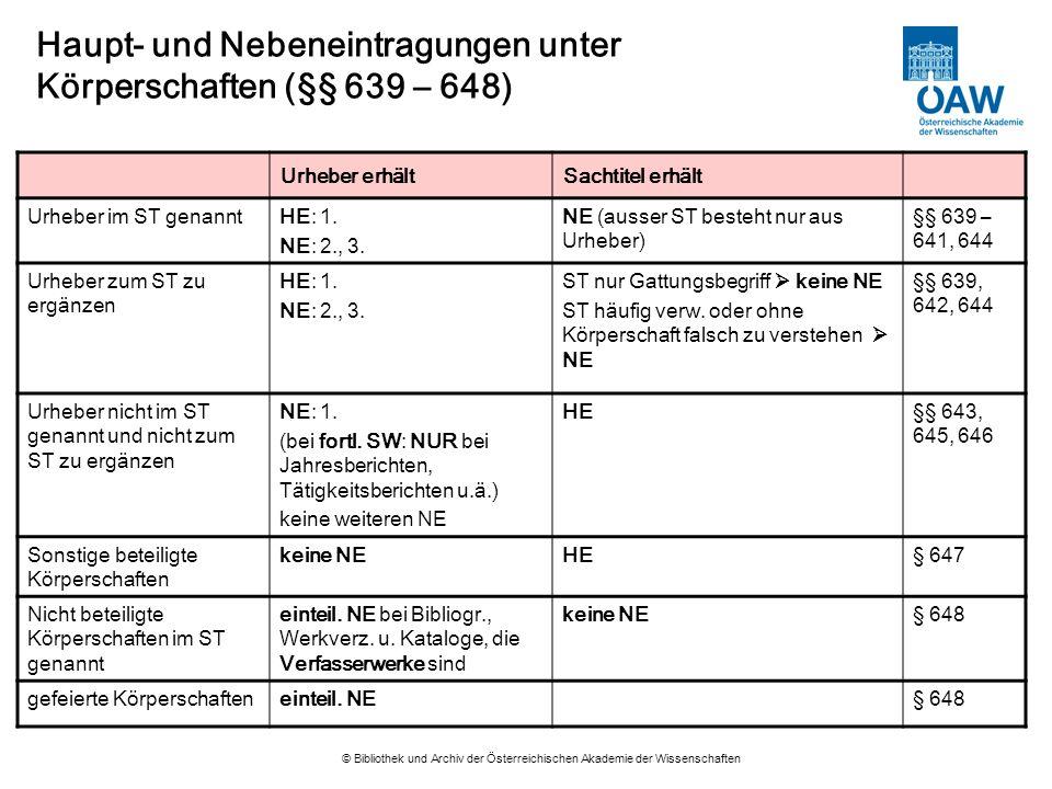 © Bibliothek und Archiv der Österreichischen Akademie der Wissenschaften Haupt- und Nebeneintragungen unter Körperschaften (§§ 639 – 648) Urheber erhä