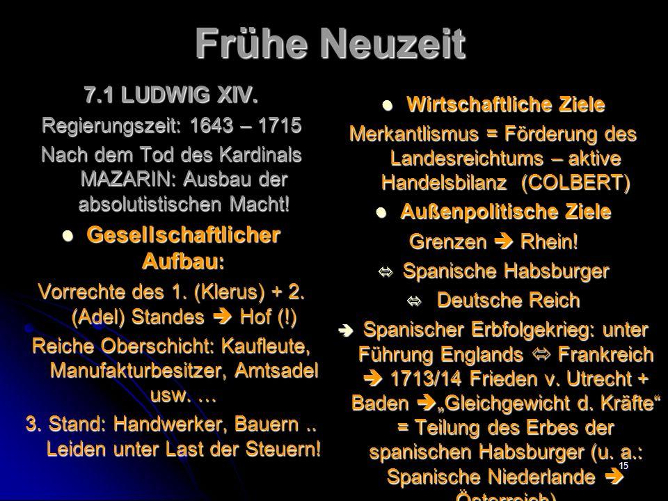 14 Frühe Neuzeit 7.LETAT CEST MOI … 7.