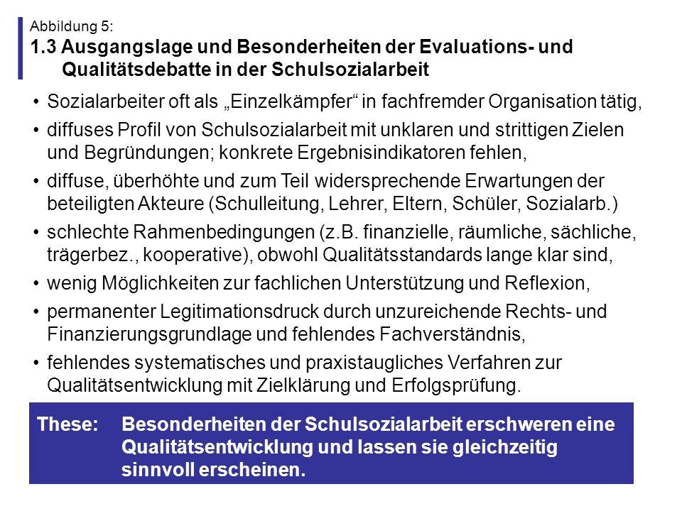 Abbildung 6: 1.4 Ansprüche an eine Qualitätsentwicklung in der Schulsozialarbeit Ausbalancierung der unterschiedlichen Interessenlagen (schul- und sozialpädagogische Ziele), Schutz der Sozialarbeiter vor überhöhten eigenen und fremden Erwartungen (Allzuständigkeit, Co-Produktion) kritische Reflexion der institutionellen Rahmung (Hilfe und Kontrolle, Rahmenbedingungen), kritische Analyse des methodischen Handelns der Sozialarbeiter (Autonomie des Klienten, method.