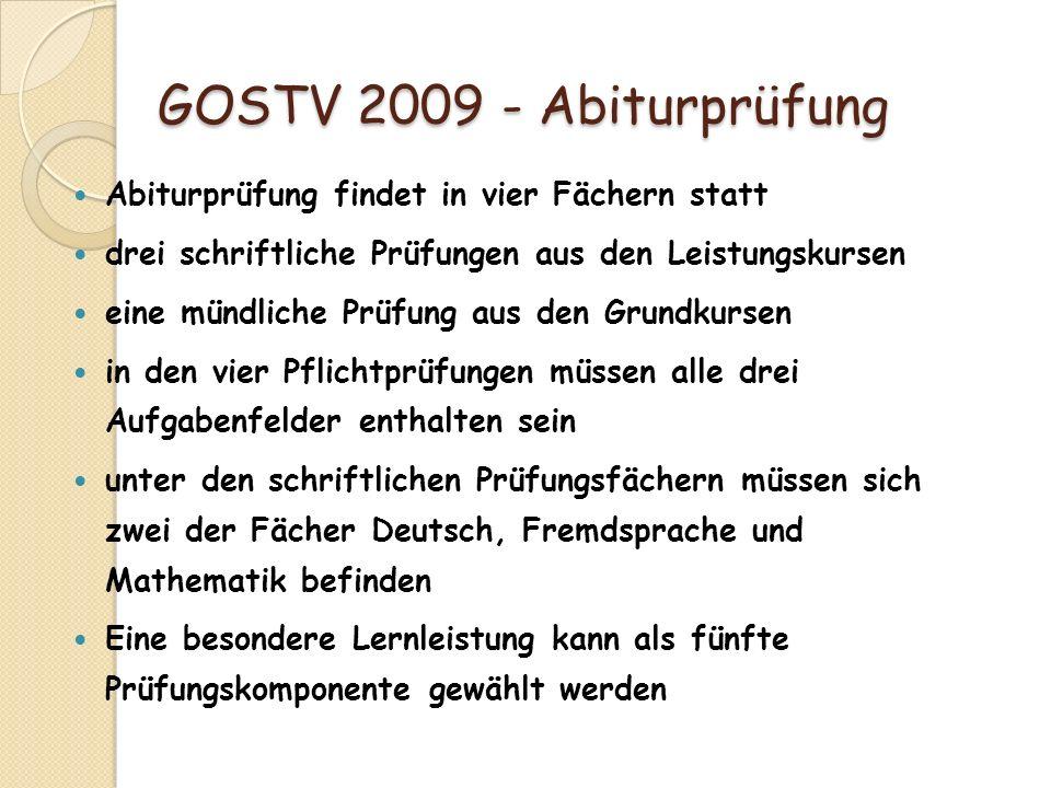 GOSTV 2009 - Abiturprüfung GOSTV 2009 - Abiturprüfung Abiturprüfung findet in vier Fächern statt drei schriftliche Prüfungen aus den Leistungskursen e