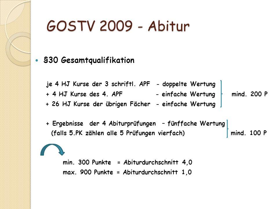 GOSTV 2009 - Abitur §30 Gesamtqualifikation je 4 HJ Kurse der 3 schriftl. APF - doppelte Wertung + 4 HJ Kurse des 4. APF - einfache Wertung mind. 200