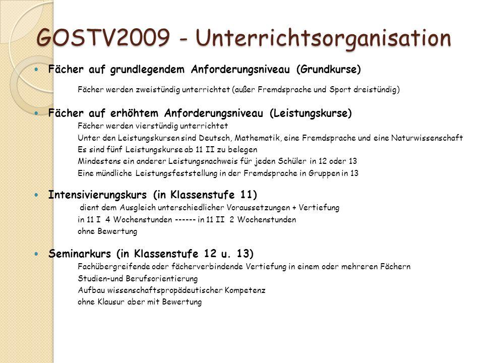 GOSTV2009 - Unterrichtsorganisation GOSTV2009 - Unterrichtsorganisation Fächer auf grundlegendem Anforderungsniveau (Grundkurse) Fächer werden zweistü
