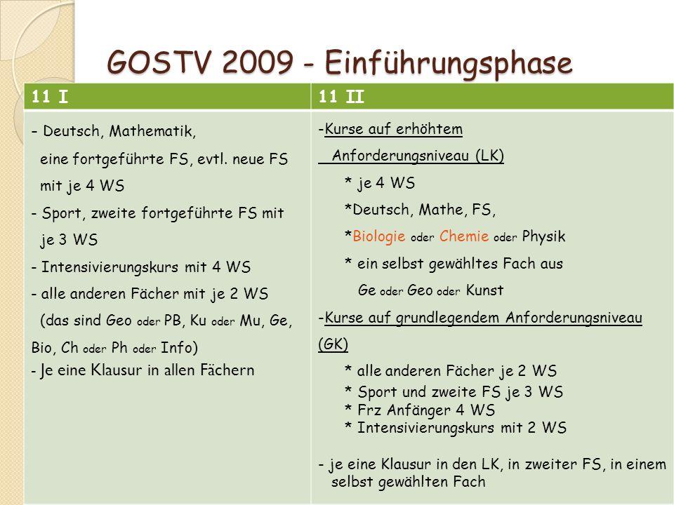 GOSTV 2009 - Einführungsphase GOSTV 2009 - Einführungsphase 11 I11 II - Deutsch, Mathematik, eine fortgeführte FS, evtl. neue FS mit je 4 WS - Sport,